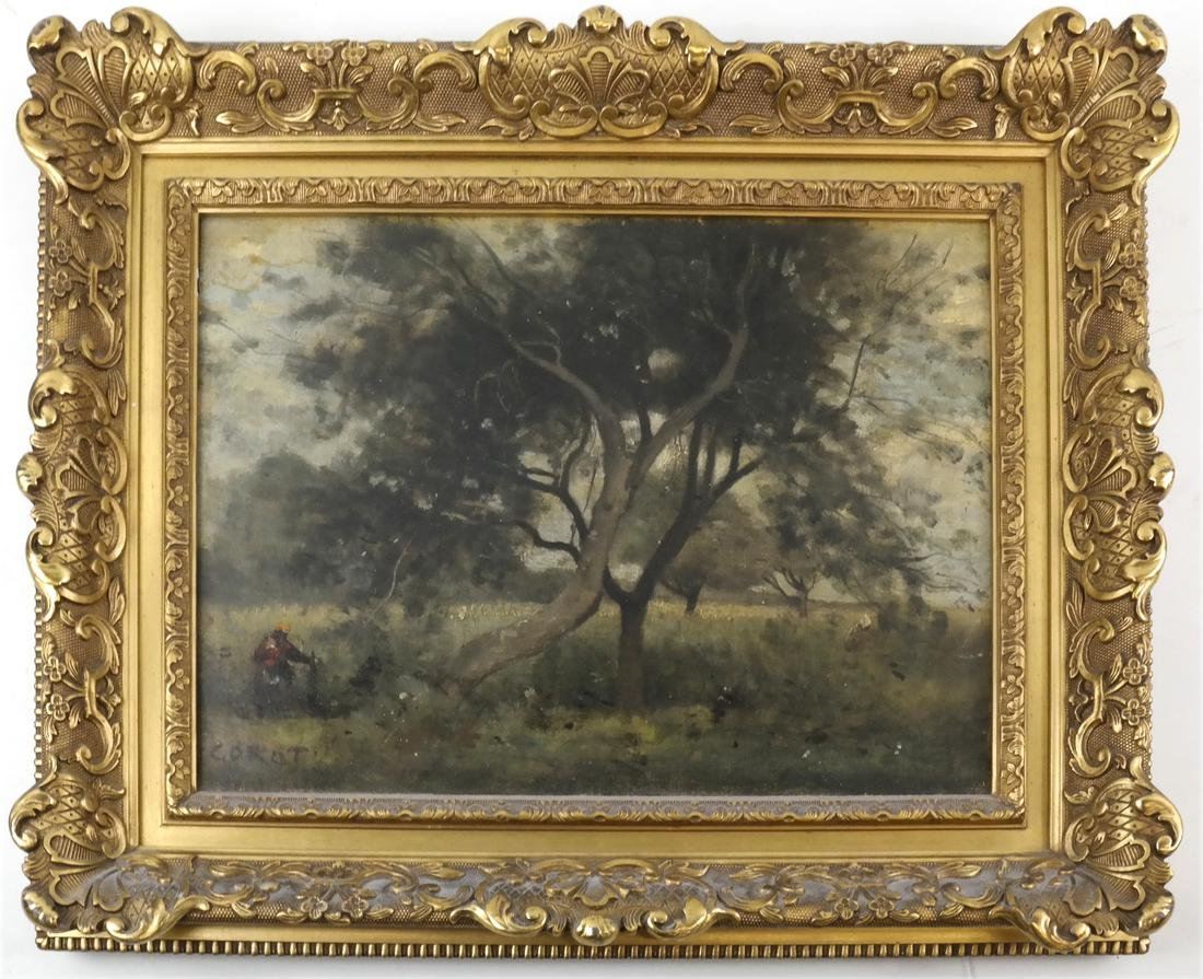 Corot, Figure Near Tree - Oil on Canvas - 2