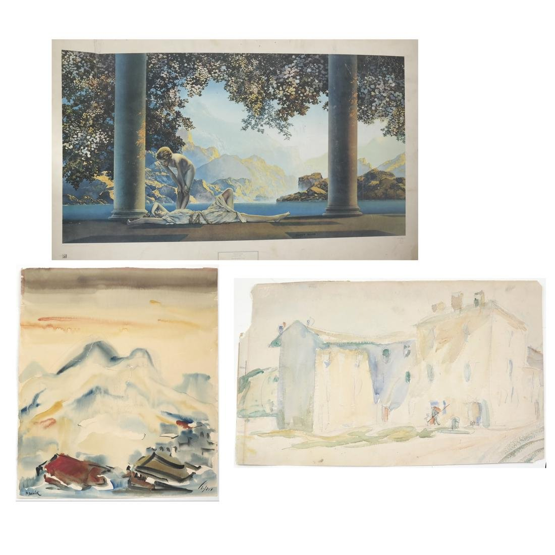 Assorted Folio of Art & 3 Watercolors