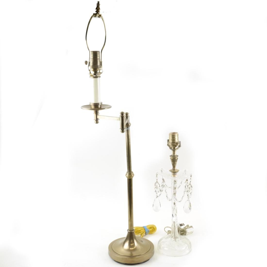 Two Lamps; Brass, Crystal
