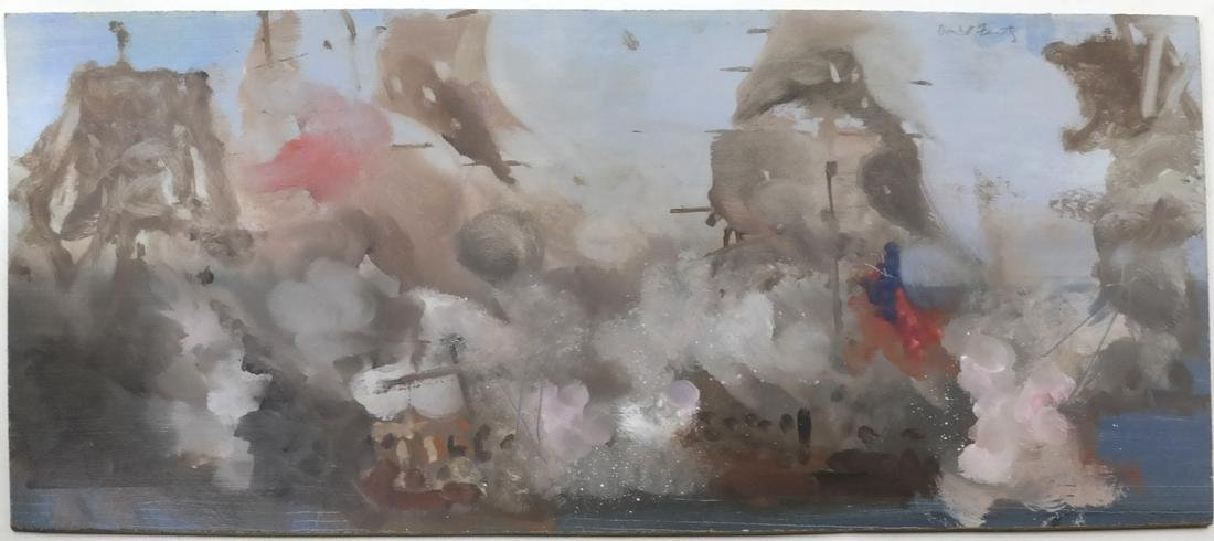 "David Fertig, ""The Battle of the Nile"" - Oil on Board"