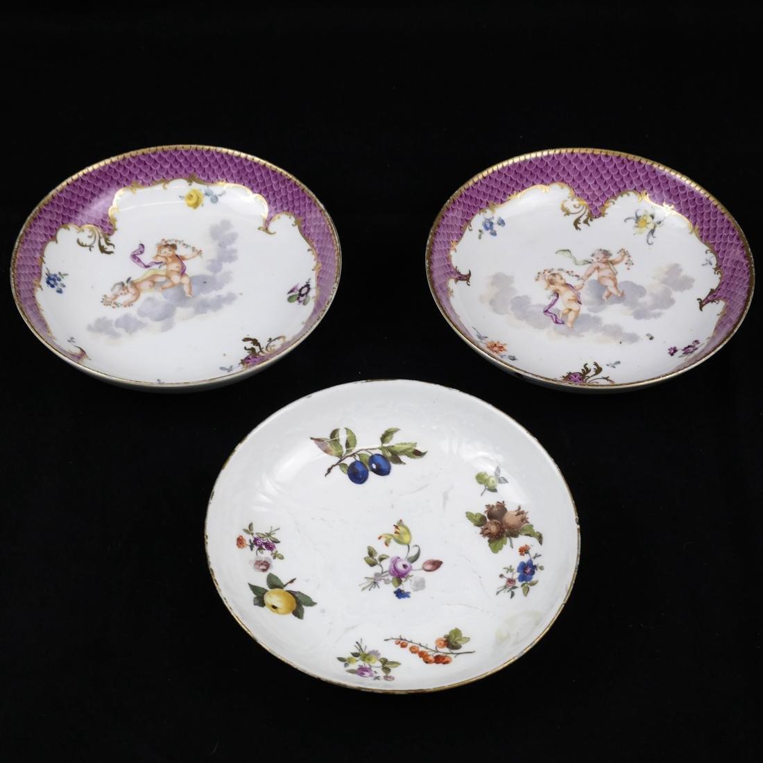 Three Meissen Decorated Plates