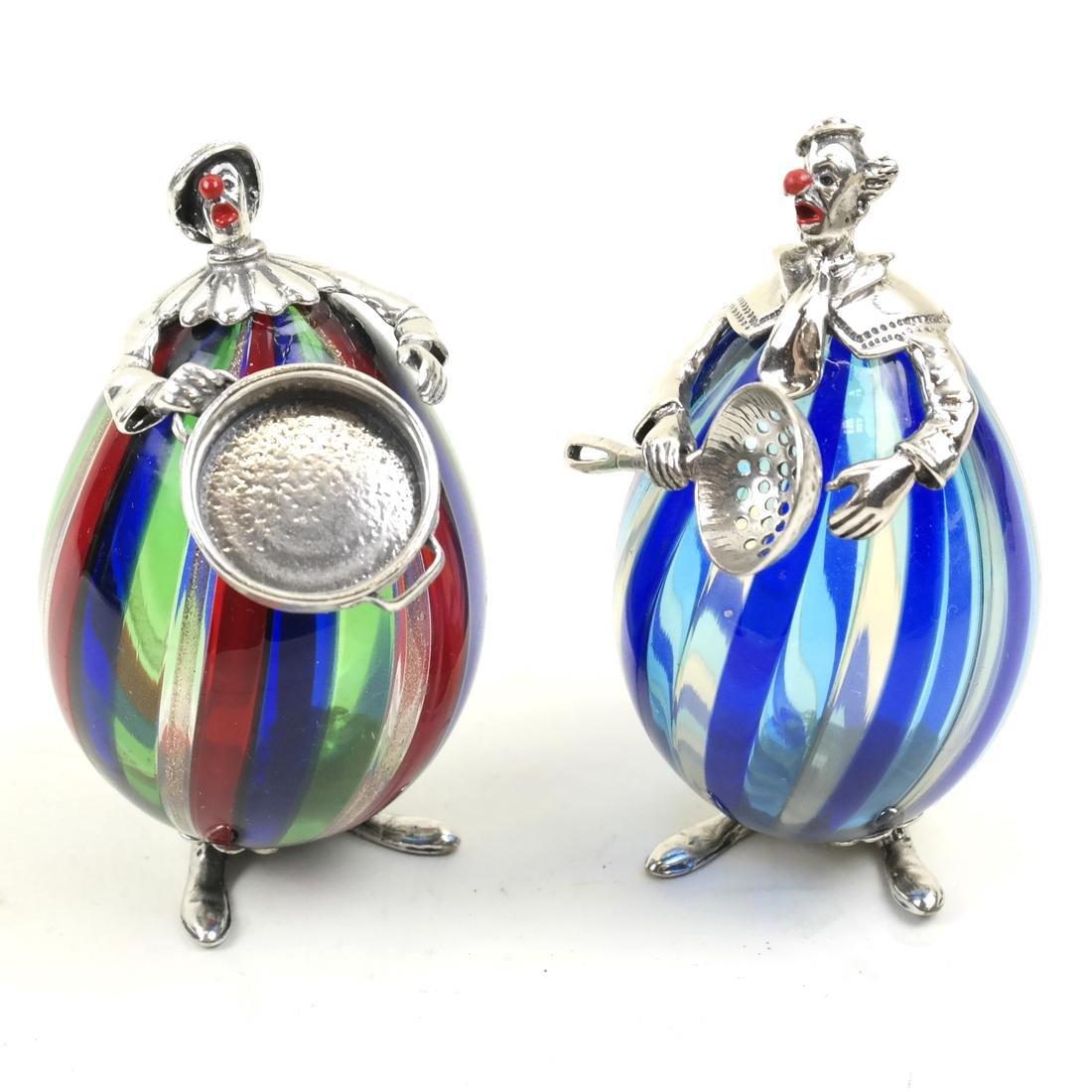 Two Venini Glass & Silver Sculptures