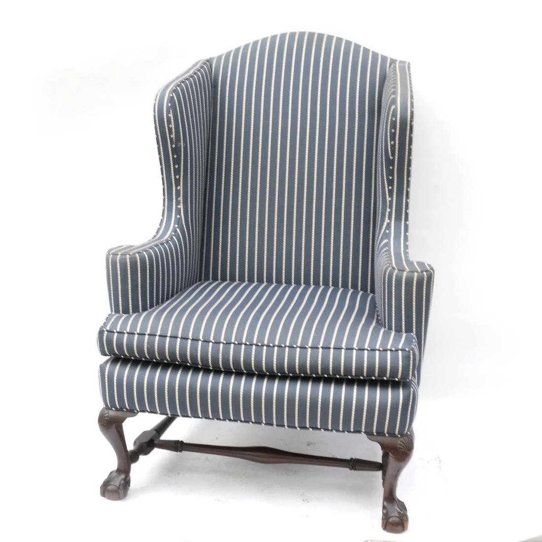 Kittinger Mahogany Upholstered Wing Chair