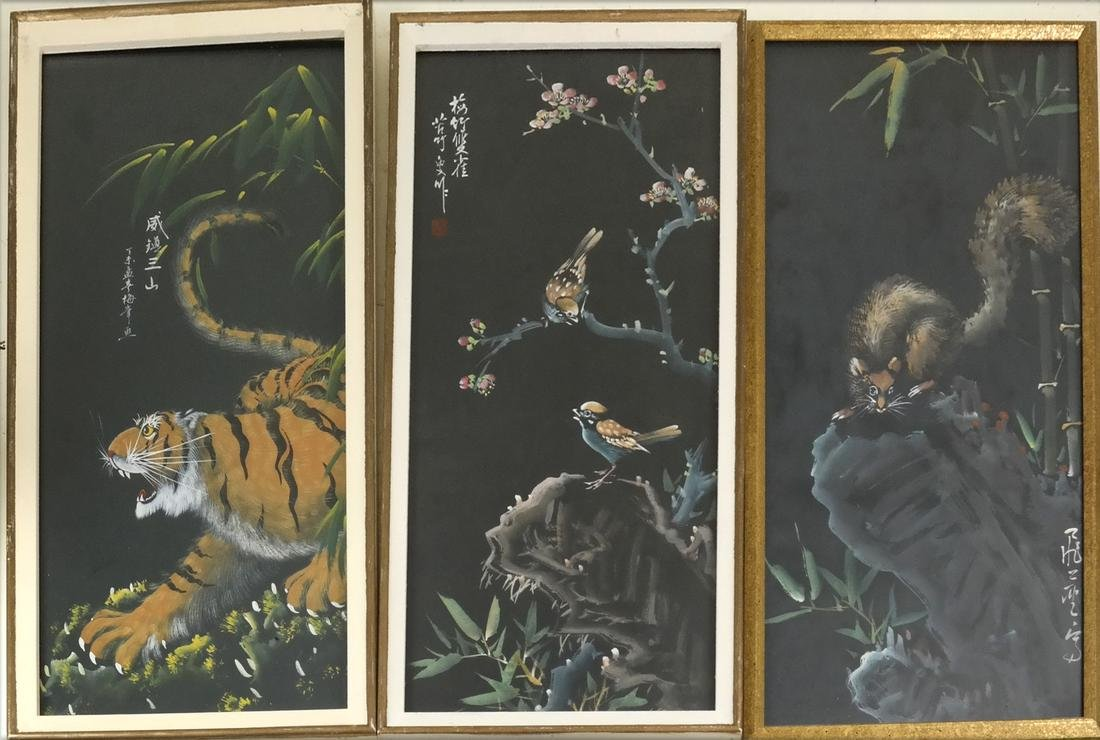 Three Asian Watercolors, Jungle Scenes
