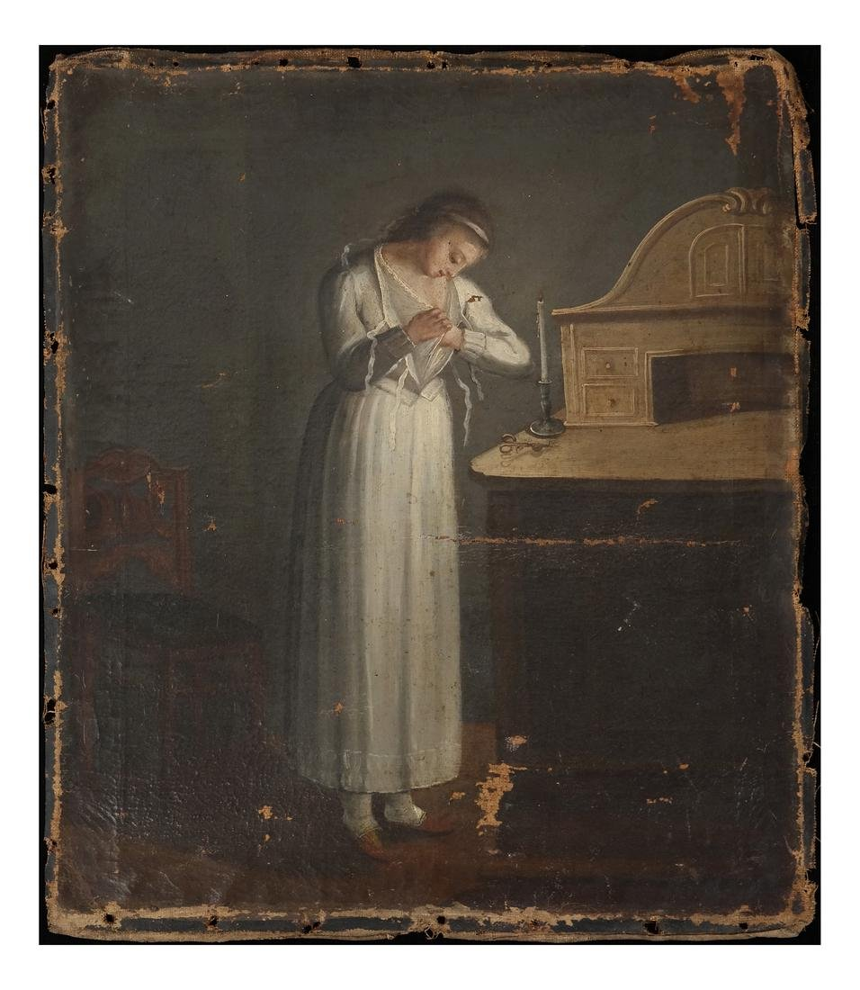 18th-19th C Woman at a Vanity Oil On Canvas
