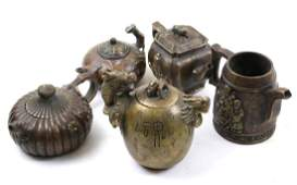 Five Chinese Bronze Teapots, Mixed Media