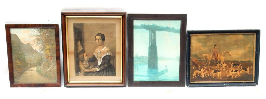 4 Vintage and Antique Embellished Prints