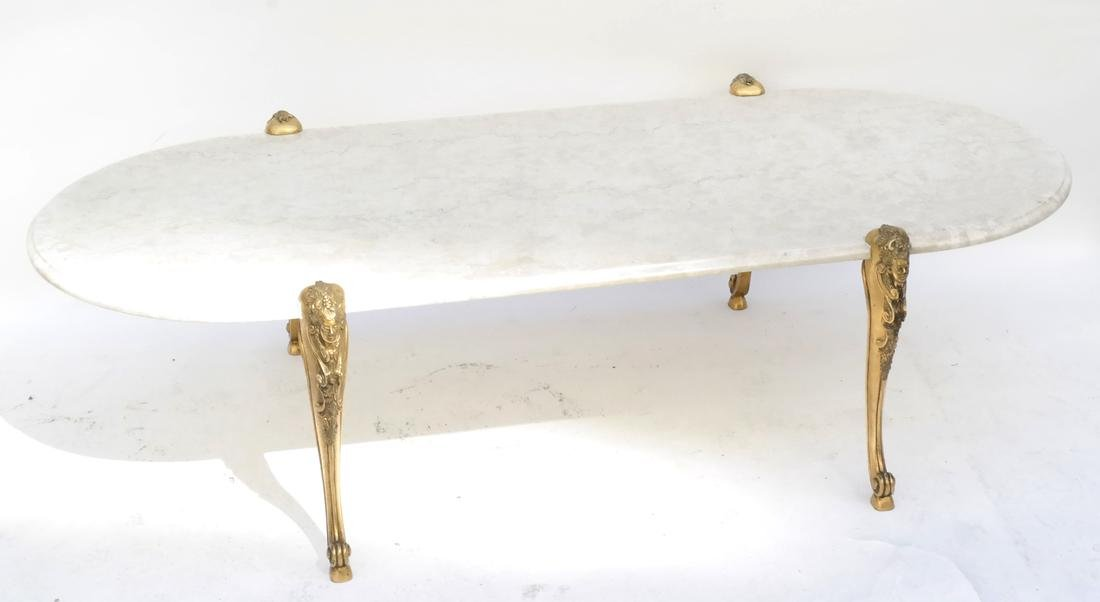 Hollywood Regency Travertine Cocktail Table