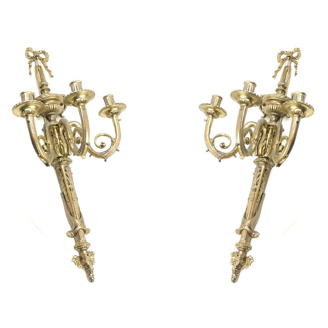 Pair of French Style Three-Light Sconces