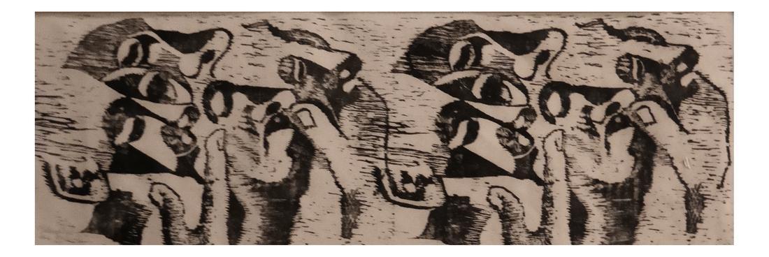 Ida Abelman, Woodcut - Philosophers