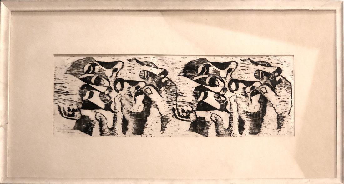 Ida Abelman, Woodcut - Philosophers - 2