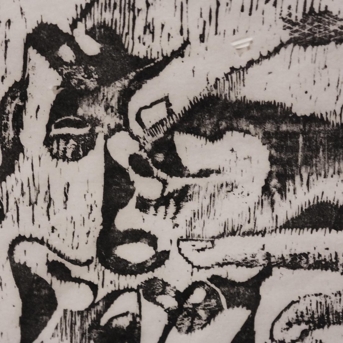 Ida Abelman, Woodcut - Philosophers - 3