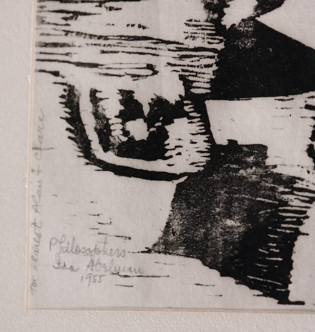 Ida Abelman, Woodcut - Philosophers - 4