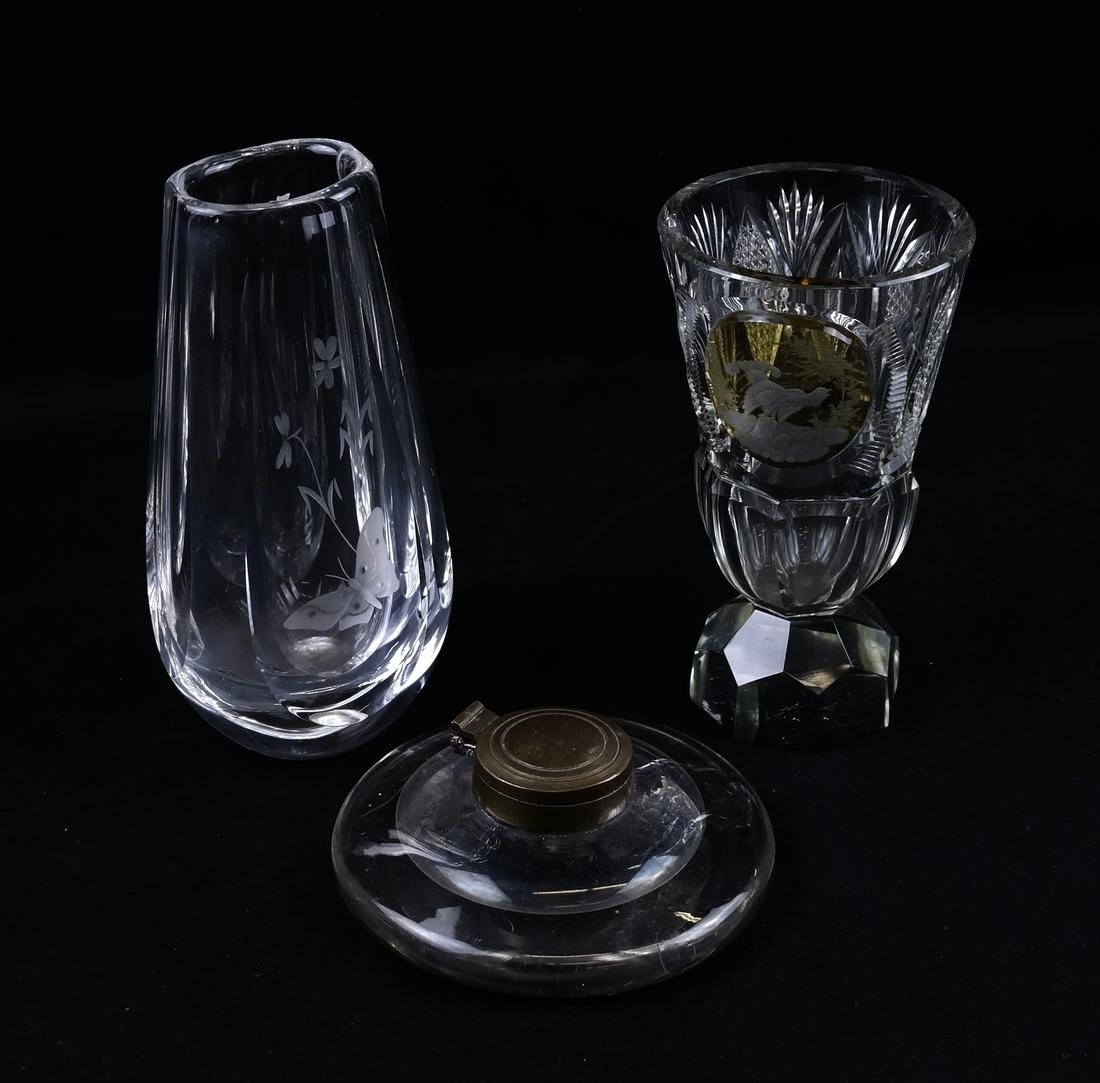 Antique Inkwell and Two Modern Vases
