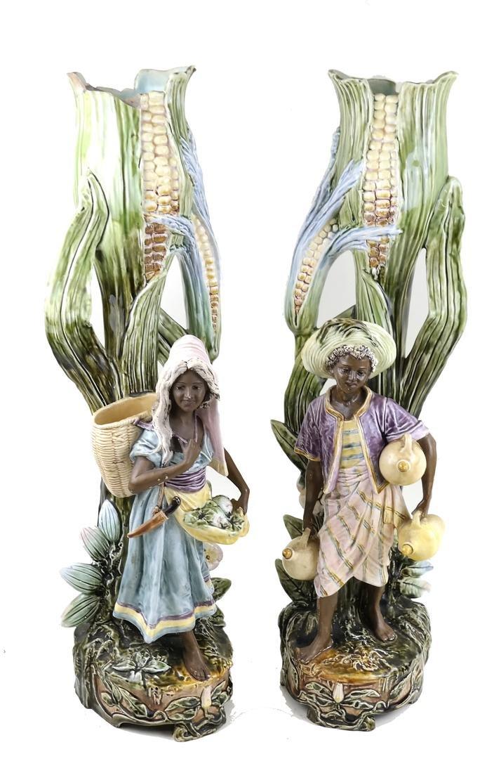 Pair of Majolica Blackamoor Vases