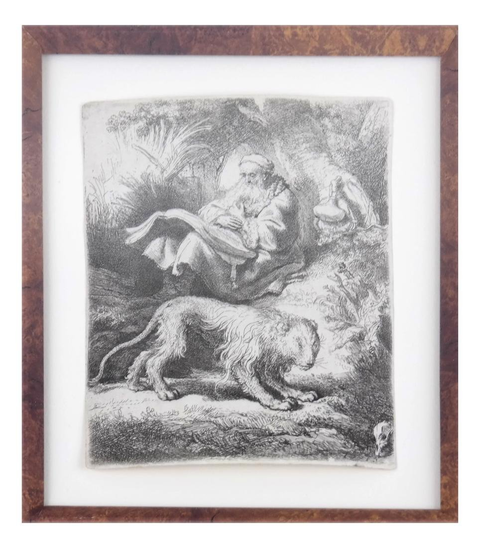 """Rembrandt, """"St. Jerome Reading"""" - Etching"""