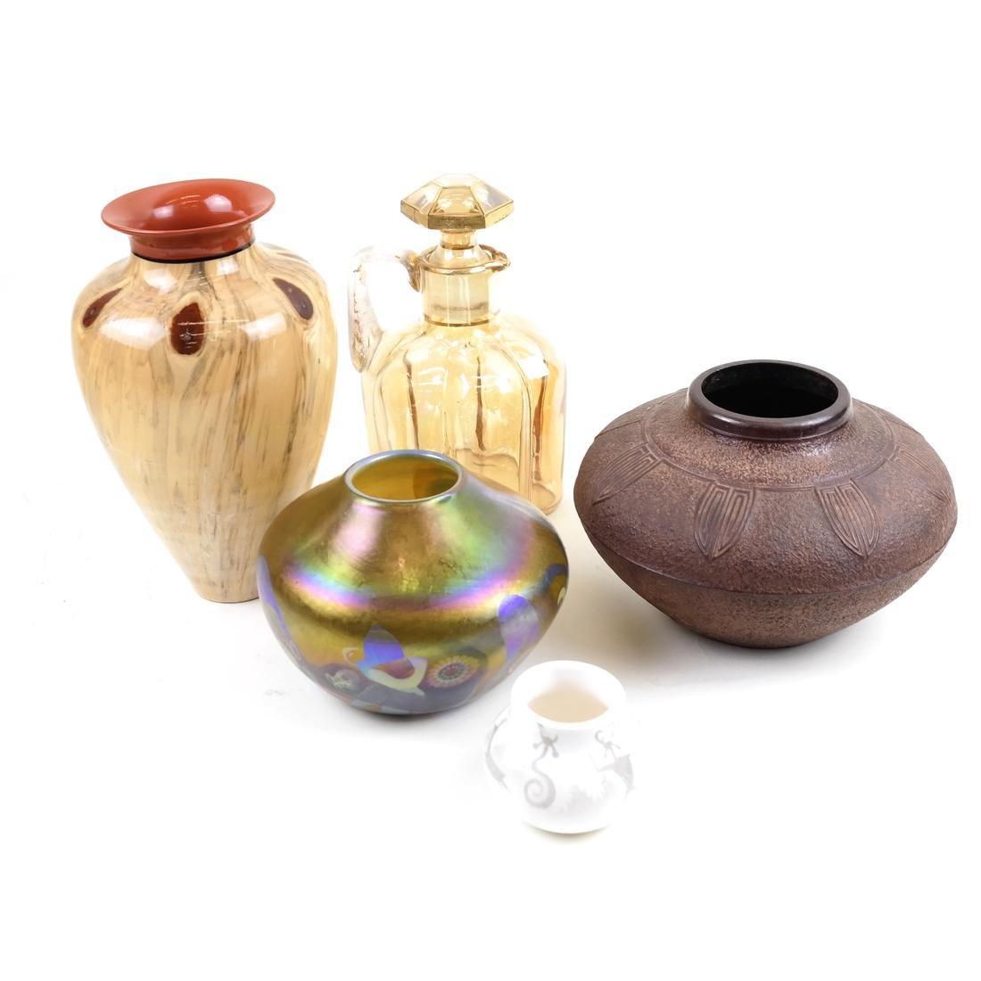 Group of Art Glass, Craftware, Bronze Vase