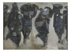 George Ratkai, Abstract Figures - Oil Painting