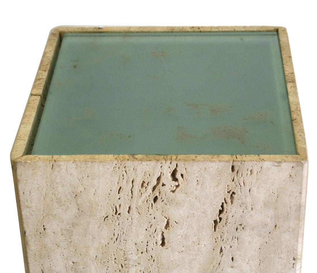 Travertine Marble Pedestal with Electrified Glass Top - 2