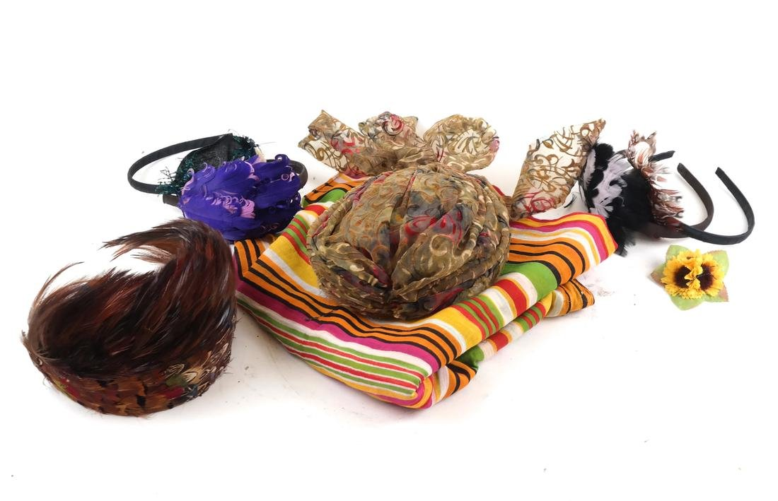 Five Feather Hair Barrettes and a Scarf