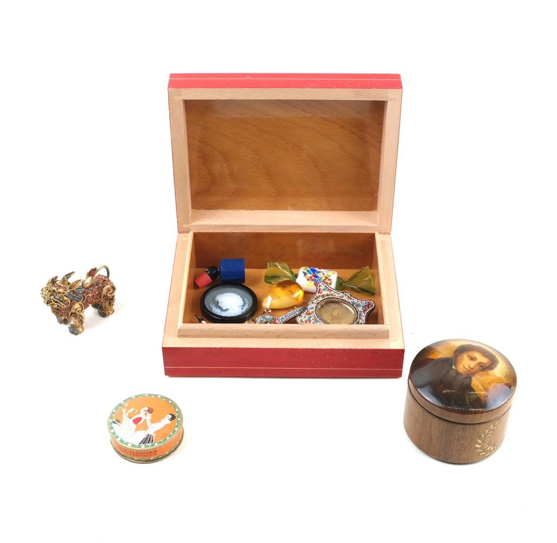 Group Lot: Lacquer Box, Pin, more
