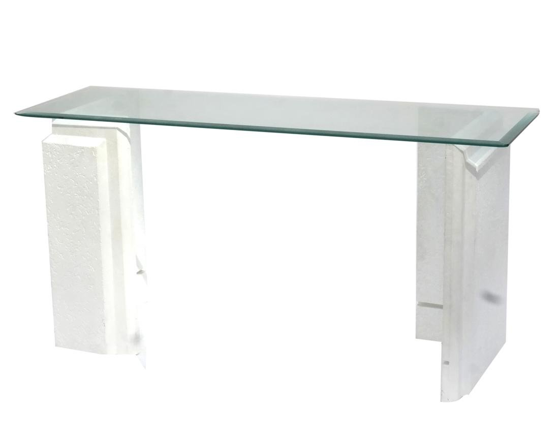 Faux stone glass top console table modernist faux stone glass top console table geotapseo Gallery