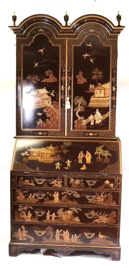 20th Century Chinoiserie Two-Section Secretary Bookcase