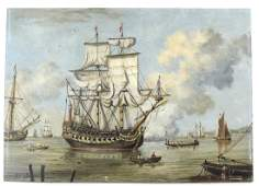 Clipper Ships and Soldiers Painting on Copper