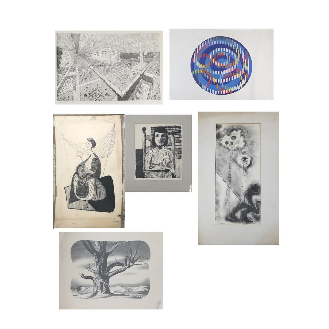 Agam Lithograph, Original Drawings, Early Etchings