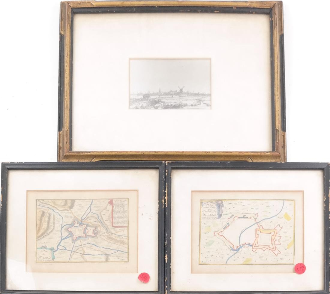 Rembrandt Print and a Pair of Maps