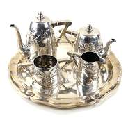 Sterling Silver Vienna Secession Tea Set and Tray