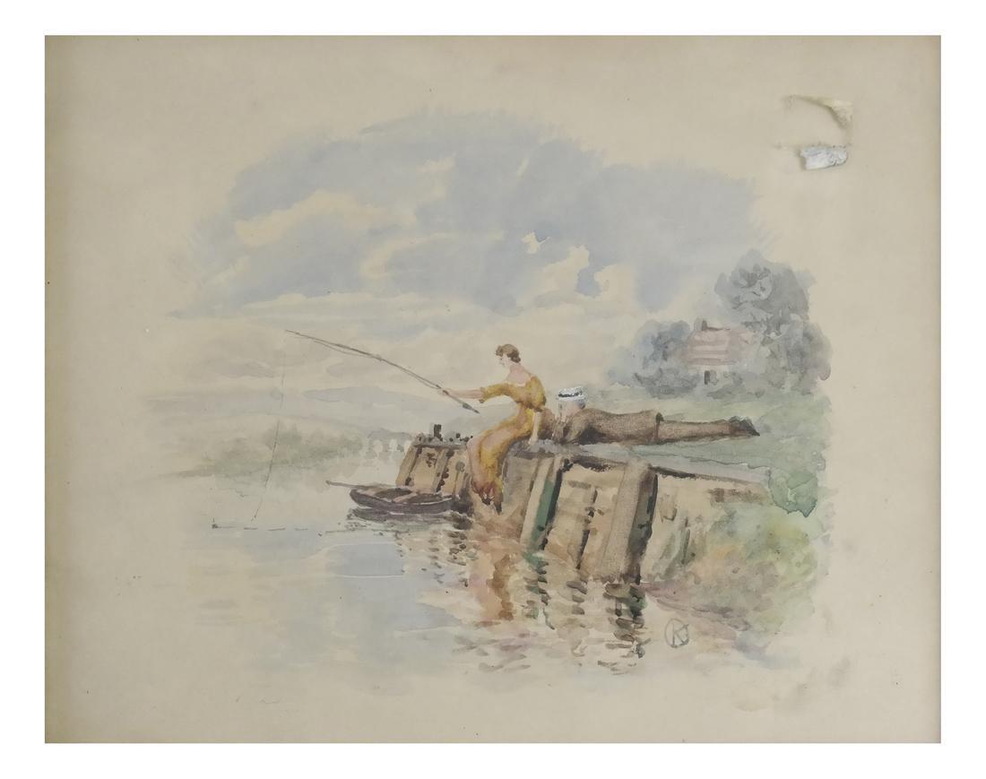 Watercolor, Couple Fishing
