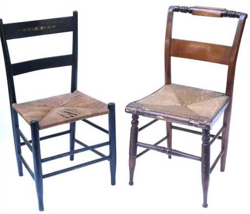 - Two Antique American Rush Seat Chairs