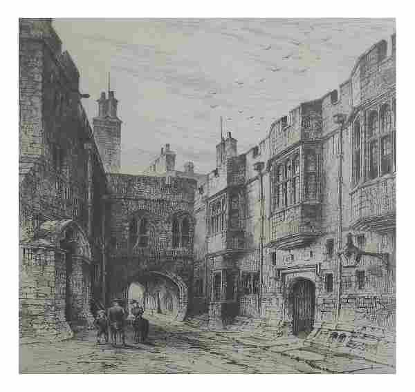 English Street Scene, Etching