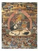 Antique Tibetan  Chinese Thangka  Gouache on Linen