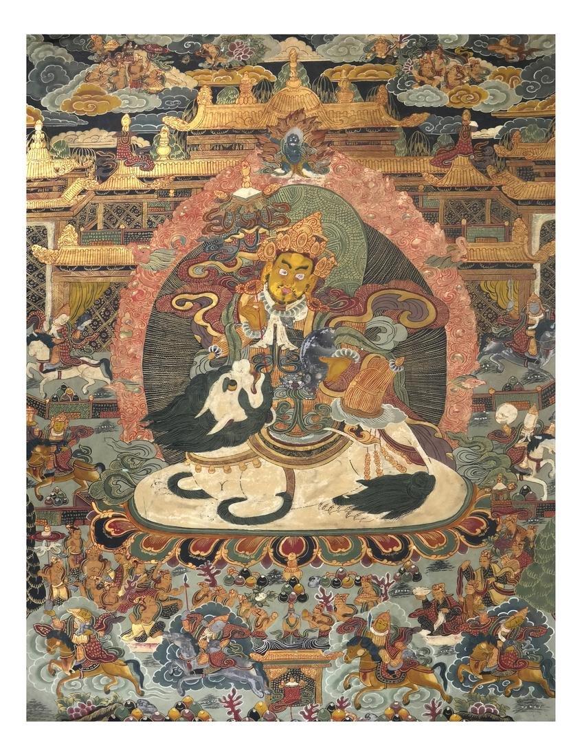 Antique Tibetan / Chinese Thangka - Gouache on Linen
