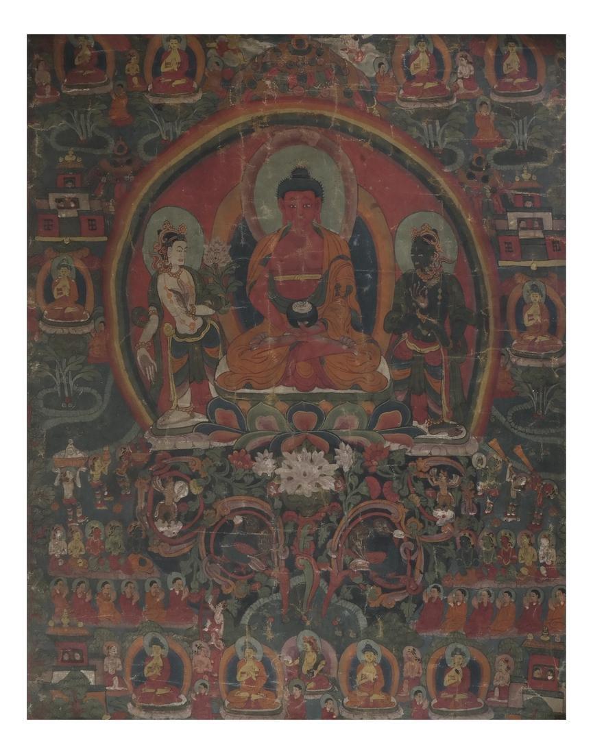 Antique Tibetan Chinese Thankga - Gouache on Linen