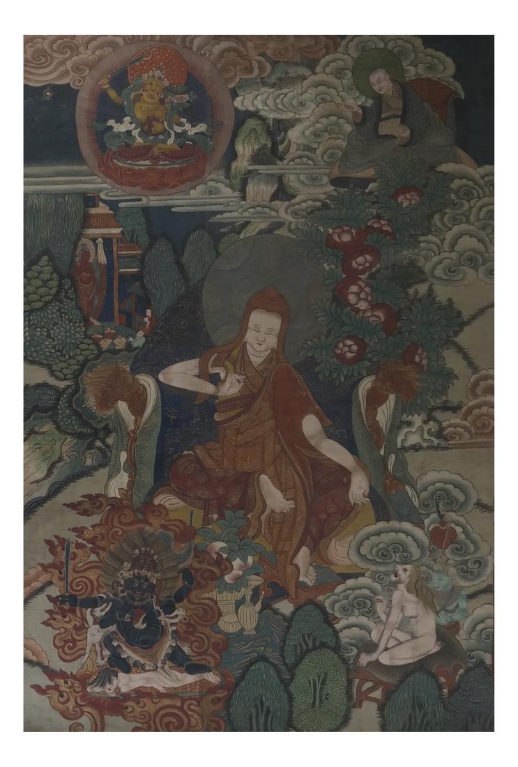 Antique Tibetan Dalai Lama Thangka - Gouache on Linen