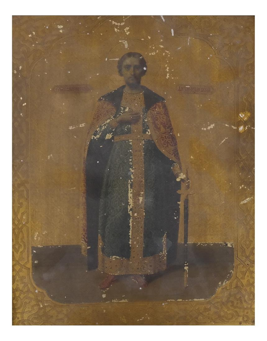 Antique Russian Icon, Saint Nicholas - Oil on Silver