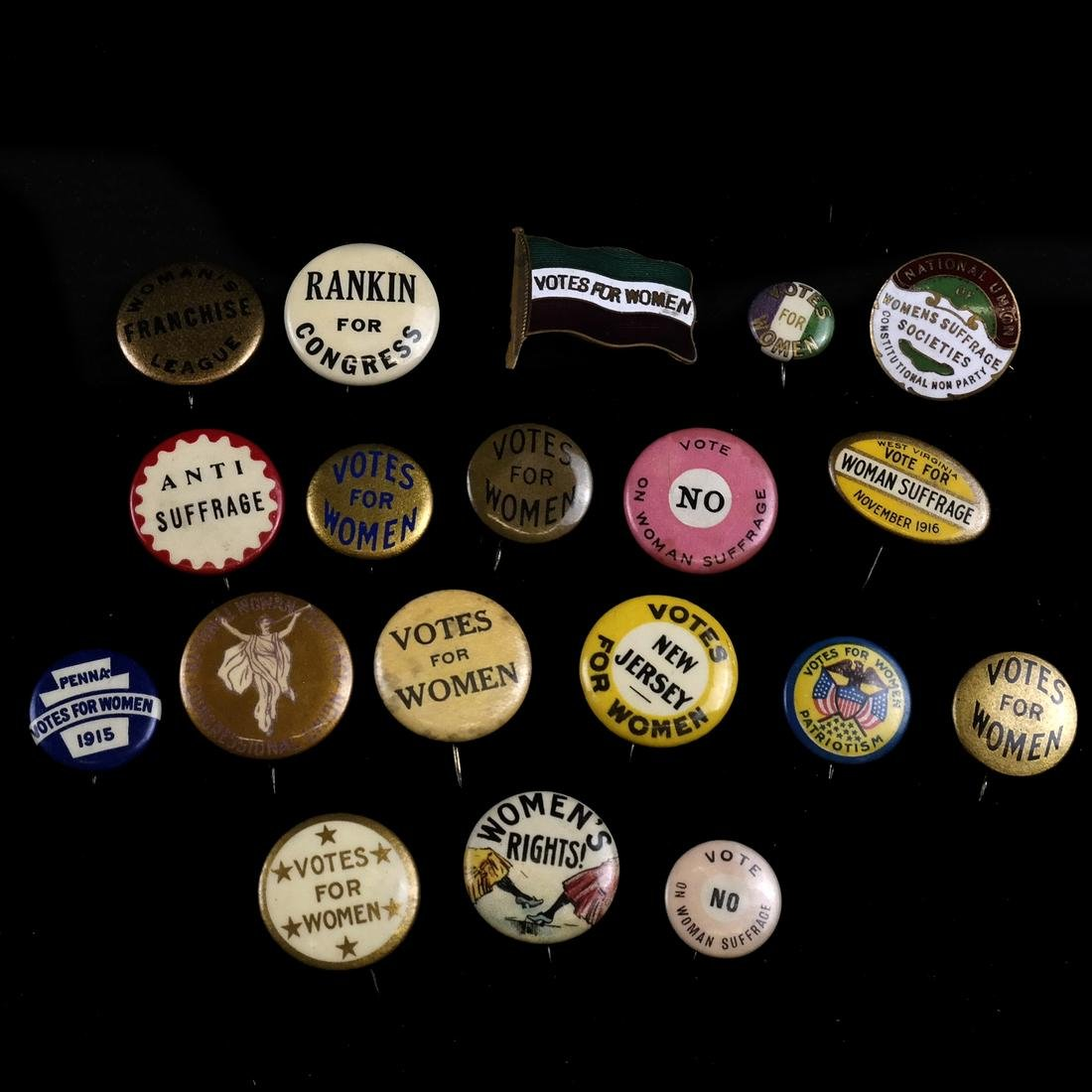 SUFFRAGETTE AND ANTI-SUFFRAGETTE PINBACK BUTTON GROUP