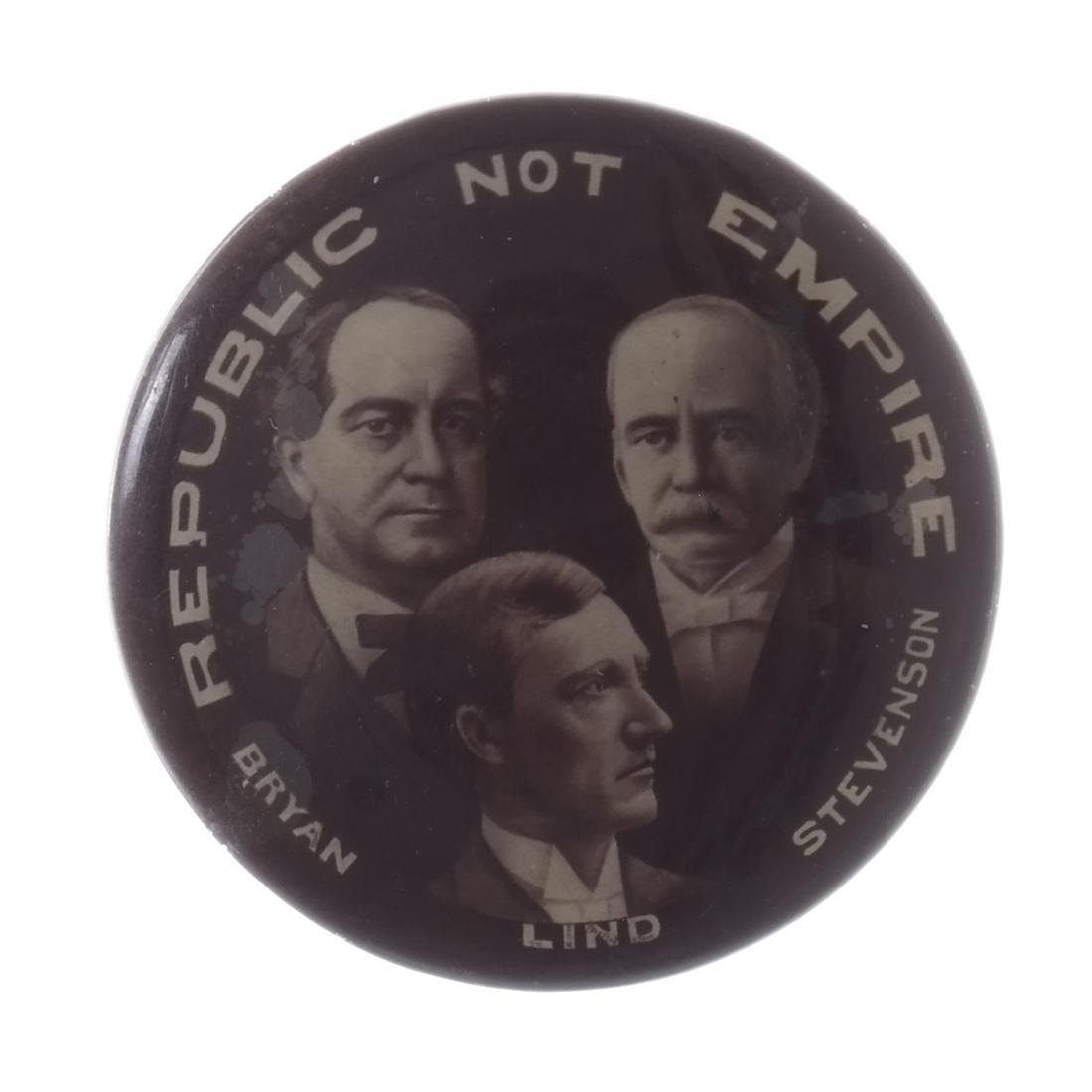 WILLIAM JENNINGS BRYAN - 1896 TRIGATE PIN BACK BUTTON