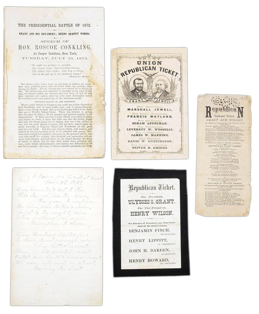 ULYSSES S. GRANT 1868 & 1872 PARTY TICKETS & OTHER