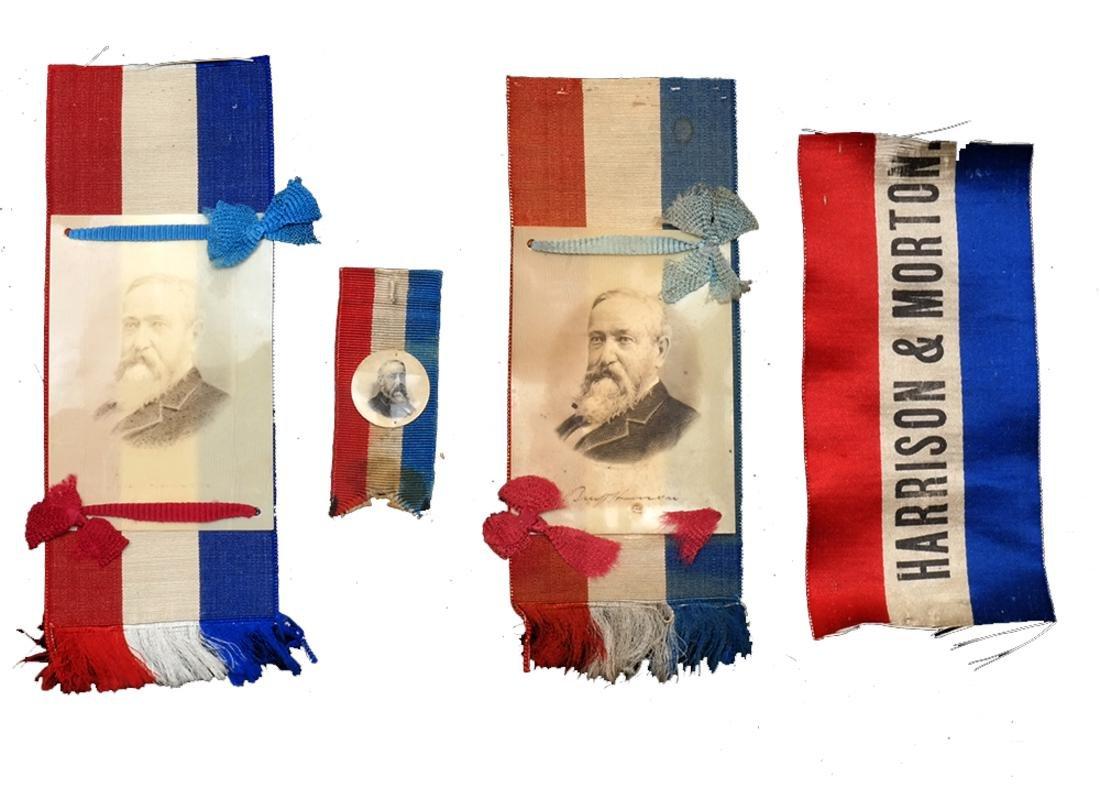 BENJAMIN HARRISON 1888 CELLULOID PORTRAIT RIBBONS