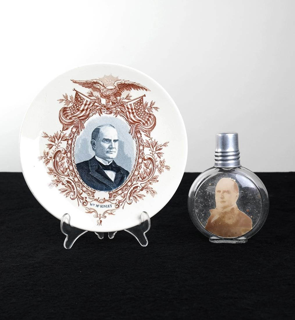 WM. MCKINLEY PORTRAIT GLASS FLASK AND CERAMIC PLATE