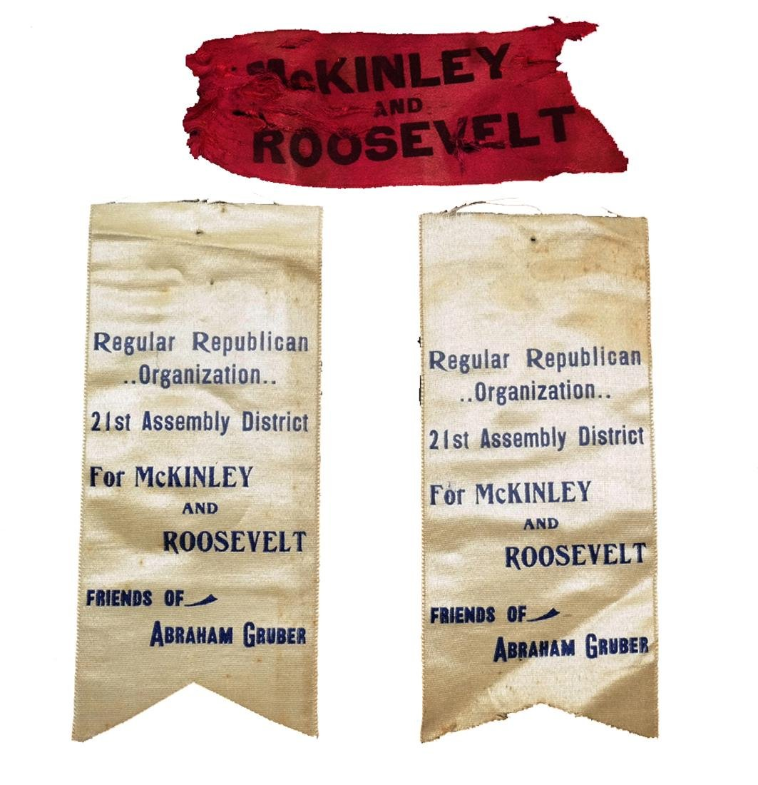 WM. MCKINLEY & T. ROOSEVELT THREE 1900 CAMPAIGN RIBBONS
