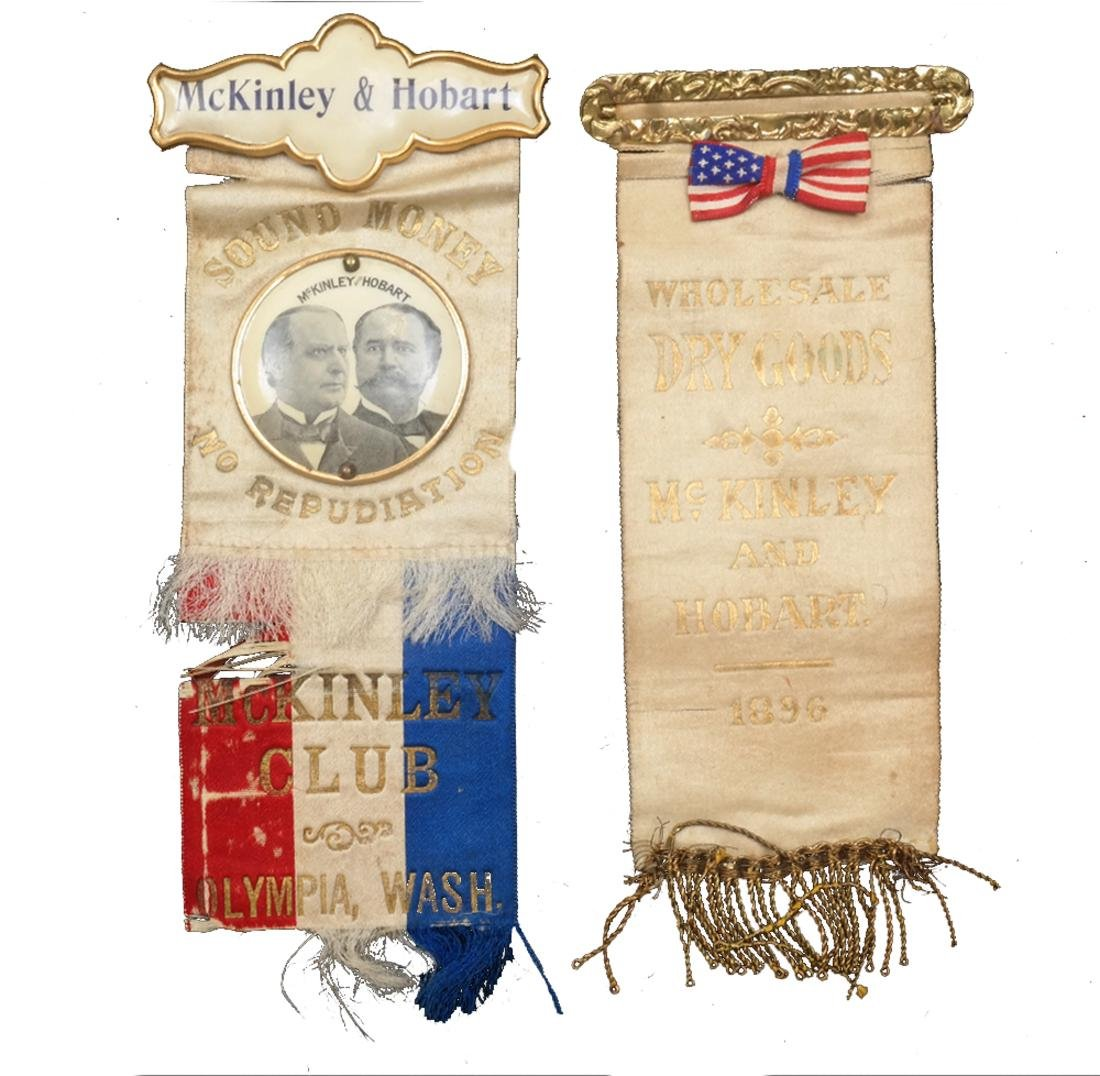 WM. MCKINLEY & G.A. HOBART TWO 1896 CAMPAIGN RIBBONS