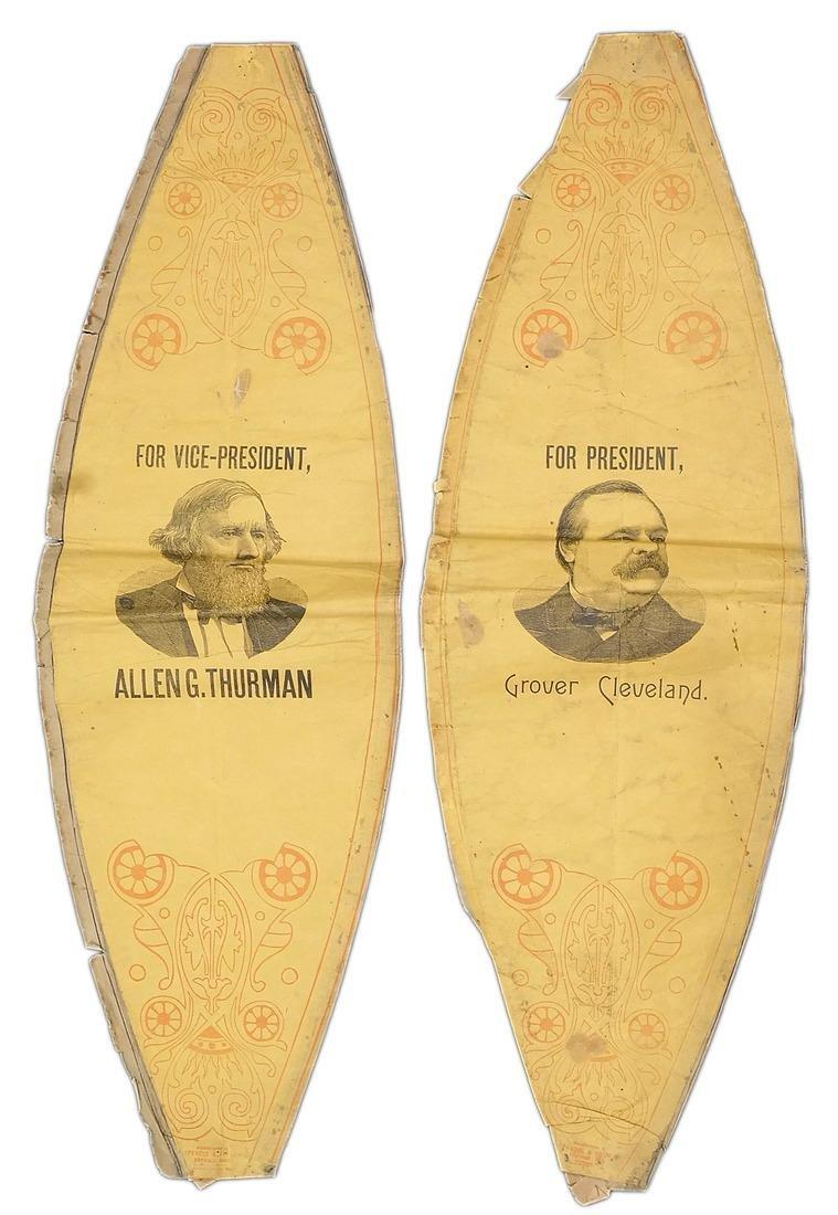 G. CLEVELAND & A.G. THURMAN TWO 1888 PAPER LANTERNS