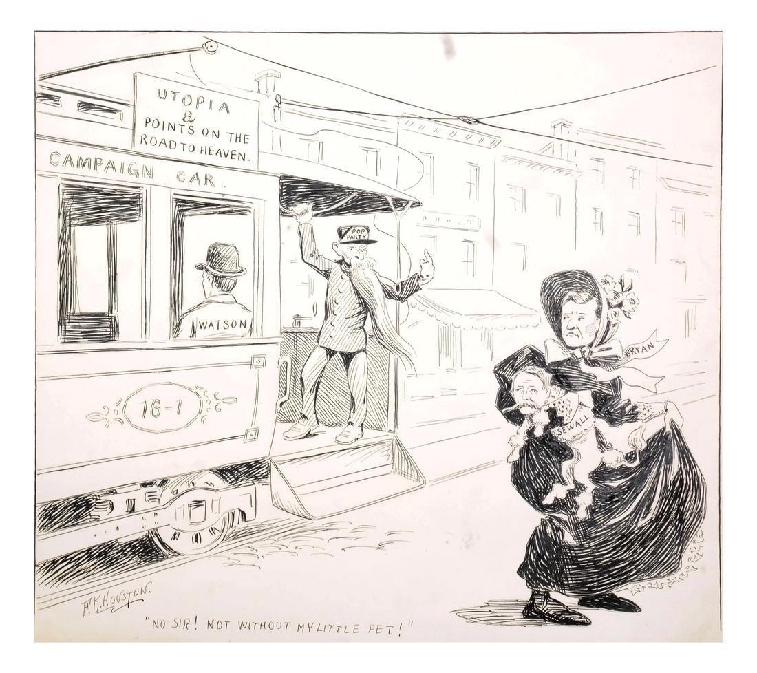 F. K. HOUSTON - 1896 ANTI-BRYAN ORIGINAL CARTOON