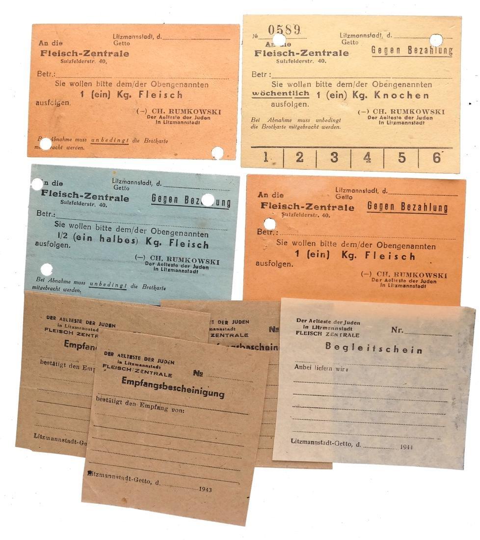 LITZMANNSTADT LODZ GHETTO MEAT RATION CARDS/RECEIPTS