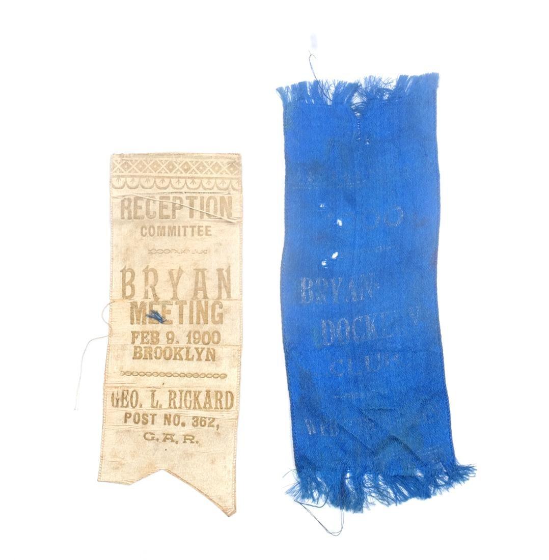 WM. J. BRYAN TWO 1900 CAMPAIGN RIBBONS
